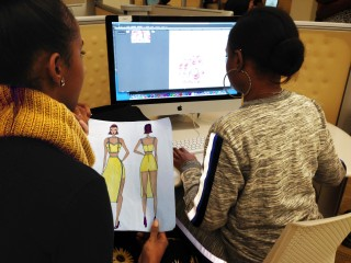 Clark Atlanta University seniors, Jasmine and Tamara working in the Technology Design Studio.